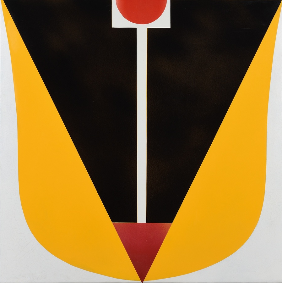"<p><span class=""artist""><strong>FERENC LANTOS</strong></span>, <span class=""title""><em>Large Tulip</em>, 1969</span></p><div class=""medium"">Enamel on iron plate</div><div class=""dimensions"">97 x 97 cm<br />38 x 38 inches</div>"