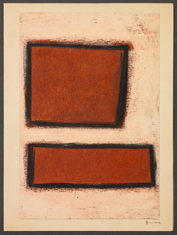 <p><span class=&#34;artist&#34;><strong>MIRA SCHENDEL</strong></span>, <span class=&#34;title&#34;><em>Untitled</em>, Early 1960s</span></p><div class=&#34;medium&#34;>Oil stick on paper</div><div class=&#34;dimensions&#34;>19 x 14 cm<br />(7 1/2 x 5 1/2 inches)</div>