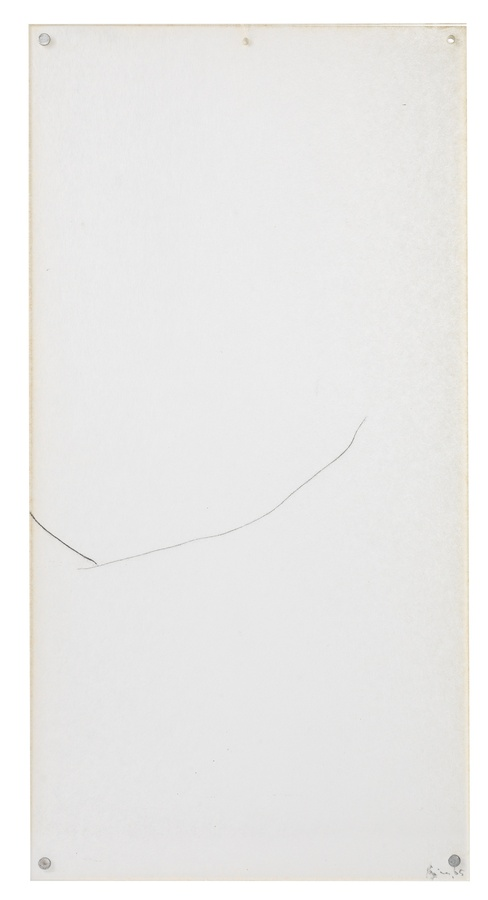 <p><span class=&#34;artist&#34;><strong>MIRA SCHENDEL</strong></span>, <span class=&#34;title&#34;><em>Untitled</em>, 1965</span></p><div class=&#34;medium&#34;>Graphite on paper</div><div class=&#34;dimensions&#34;>46 x 23 cm<br />(19 1/8 x 9 inches)</div>