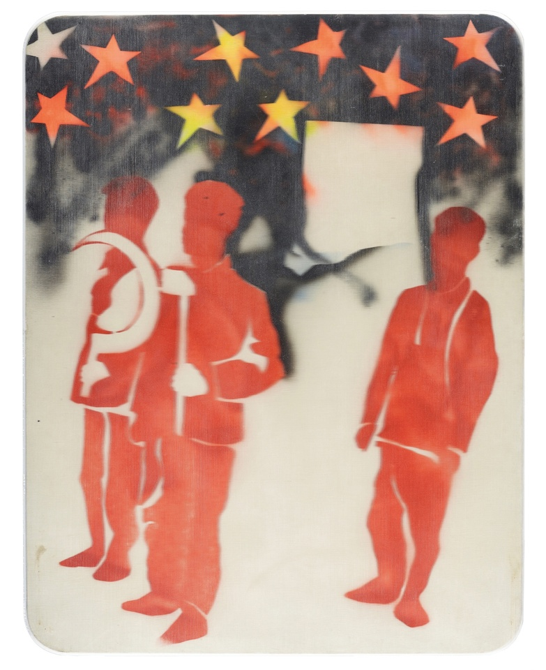 MARIO SCHIFANO, Compagni, compagni, 1968  Enamel and spray paint on canvas and Perspex  131 x 101 cm 51 ⅝ x 39 ¾ inches