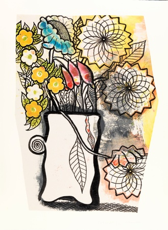 <p><span class=&#34;artist&#34;><strong>COLIN SELF</strong></span>, <span class=&#34;title&#34;><em>Flowers in a Vase</em>, 2008</span></p><div class=&#34;medium&#34;>Collage: Indian ink painting over an etching worksheet</div><div class=&#34;dimensions&#34;>67 x 50 cm<br />(26 3/8 x 19 3/4 inches)</div>