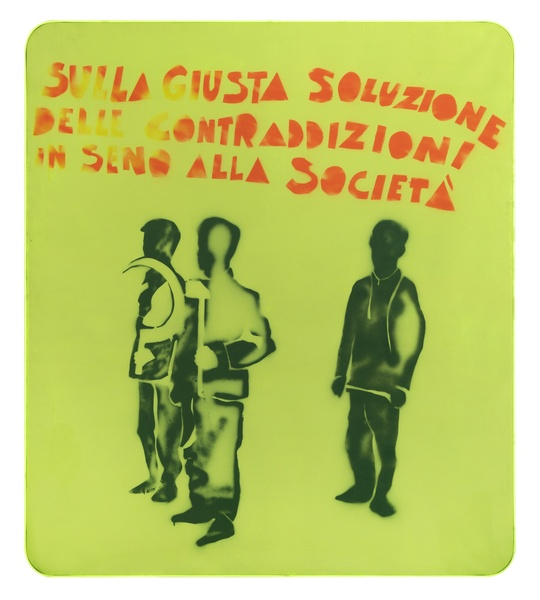 MARIO SCHIFANO, Compagni, compagni, 1968  Enamel and spray paint on canvas and Perspex  160 x 140 cm 63 x 55 ⅛ inches